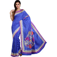 Parchayee Blue Raw Silk Floral Saree With Blouse