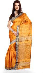 Parchayee Yellow Art Silk Plain Saree With Blouse