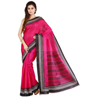 Parchayee Pink Art Silk Printed Saree With Blouse