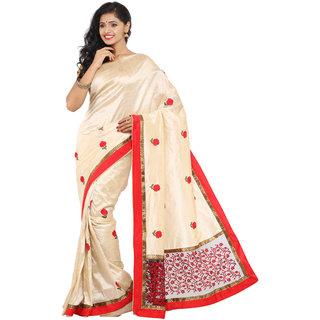 Parchayee Beige Art Silk Self Design Saree With Blouse