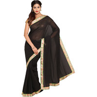 Parchayee Black Georgette Lace Saree With Blouse
