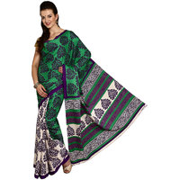Parchayee Green Crepe Printed Saree With Blouse