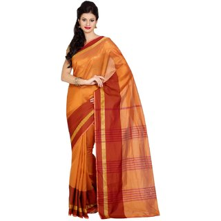 Parchayee Orange Net Striped Saree With Blouse