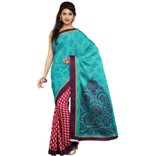 Parchayee Green Crepe Self Design Saree With Blouse