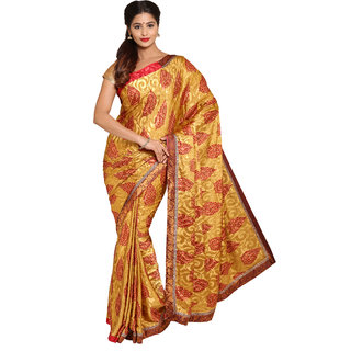 Parchayee Beige Crepe Printed Saree With Blouse