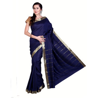 Parchayee Blue Cotton Plain Saree With Blouse