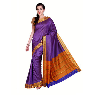 Parchayee Purple Cotton Self Design Saree With Blouse