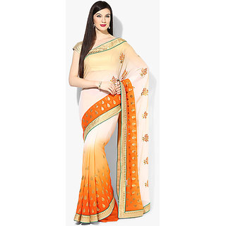 Parchayee Orange Georgette Floral Saree With Blouse