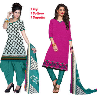 Khushali Presents 2 Top 1 Bottom 1 Dupatta Dress Material(White,Multi,Pink)