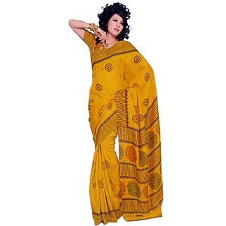 S V Inc Multicolor Silk Printed Saree With Blouse