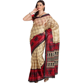 Parchayee Beige  Art Silk  Printed Saree With Blouse