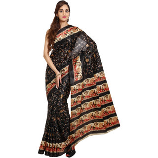 Parchayee Black Art Silk Printed Saree With Blouse
