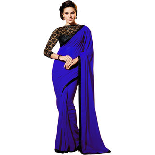 Parchayee Blue Chiffon Plain Saree With Blouse