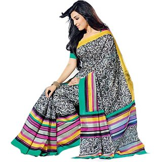 S V Inc Multicolor Polyester Printed Saree With Blouse