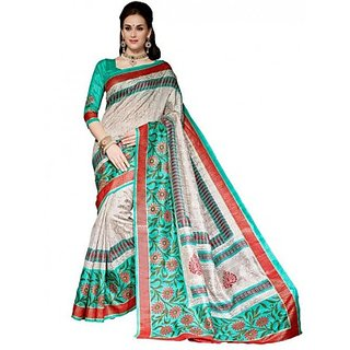 S V Inc Multicolor Cotton Printed Saree With Blouse