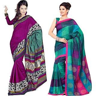 Sunaina Printed Bhagalpuri Cotton Silk Saree (Combo Of 2) (SARDTX45FHJSESNK)