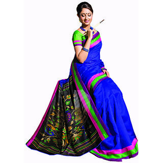S V Inc Multicolor Georgette Printed Saree With Blouse