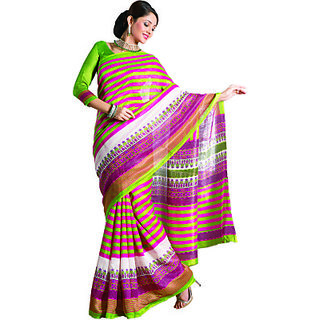 S V Inc Multicolor Brasso Printed Saree With Blouse