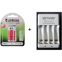 Uniross 2100 Mah Hybrio Rechargeable Batterie With Envie Charger