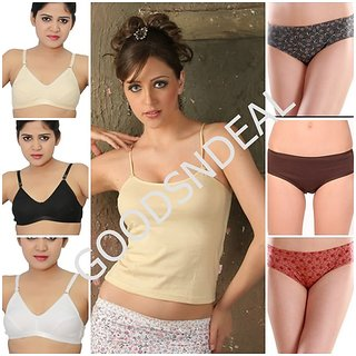7 Piece Women Essentials ( 3 Bra, 3 Panties, 1 Camisole )