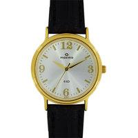Maxima Round Dial Black Leather Strap Women Quartz Watch