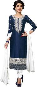 Khoobee Presents Embroidered Glaze Cotton Dress Material (Navy Blue,White)