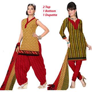 Khoobee 2 Top 1 Bottom 1 Dupatta Dress Material (Yellow,Multi)