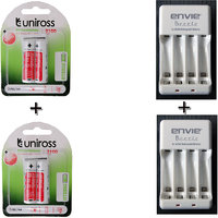 Uniross 2100 Mahx 4 Hybrio Rechargeable Batteries With 2 Envie Charger