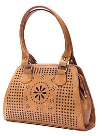 Abbme Classic Textured Brown Handbag