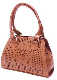 Abbme Classic Textured Dark Brown Handbag