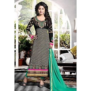 Black And Cream Embroidery Designer Salwar Suit