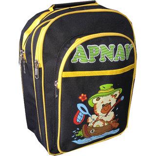 Apnav Black-Yellow Kids School Bag