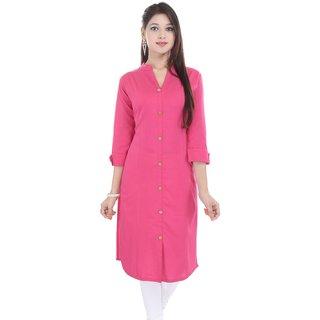 Mystique India Pink 3/4 Sleeve Chinese Collar Khadi Long Kurti For women