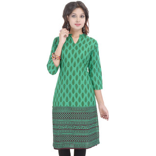 Beautiful Printed Green Cotton Kurti from the house of Anjani