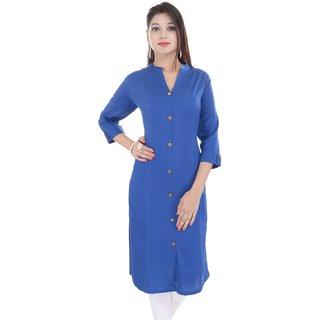 Mystique India Blue 3/4 Sleeve Chinese Collar Khadi Long Kurti For women