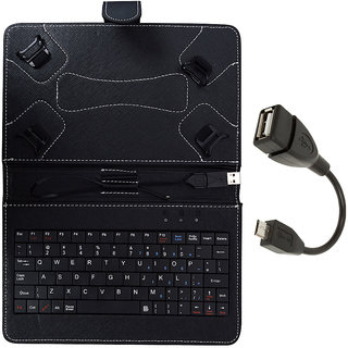 SKYBERG Black Keypad Tab Cover  For MICROMAX CANVAS TAB P480 With Free OTG Cable