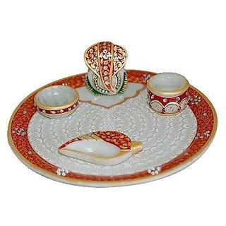 Shreeng Lord Ganesha Marble Pooja Thali