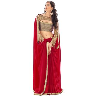 Aagaman Maroon Georgette Self Design Saree With Blouse