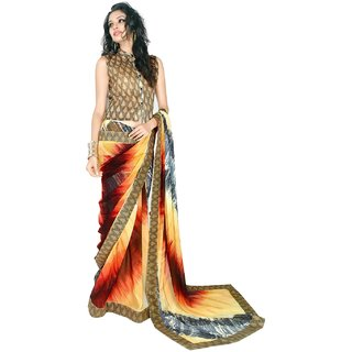 Aagaman Entrancing Multi Colored Printed Faux Georgette Saree