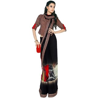 Aagaman Remarkable Black Colored Printed Faux Georgette Saree