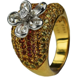 UpperGirdle Ethnic 18 KT WHITE GOLD  YELLOW GOLD Daily wear Diamond Ring for wo