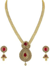 Zaveri Pearls Traditional Long Necklace Set for Women