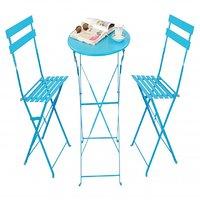 Deneb Metallic Folding Chair Table Set (Turquoise)