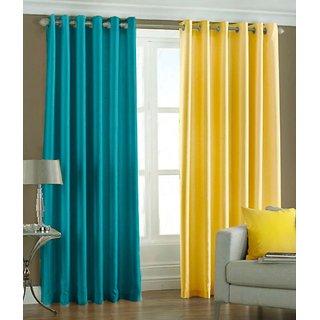 Iliv Aqua Yellow Solid Eyelet Door Curtain Set Of 2 Online Get 11 Off