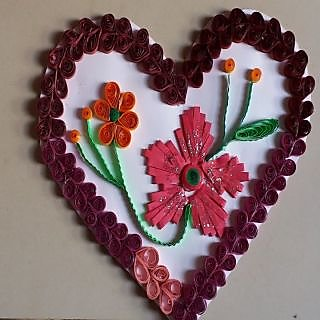 Quilled Heart Shape With Flowers