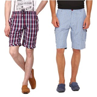 Factorydirect Men's Multicolor Shorts (Pack of 2)