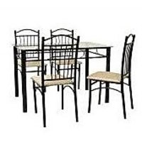Furniturekraft Glass Top Four Seater Dining Set
