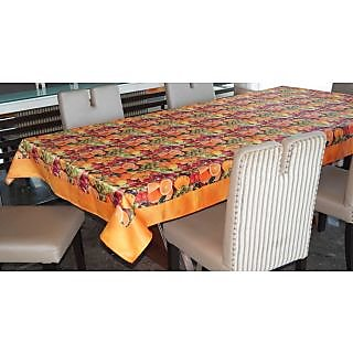 Lushomes Digital Printed Yellow Themed Table Cloth For 6 Seater
