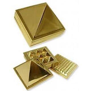 Brass Multi layer Vastu Pyramid Closed Set - golden pyramid