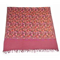 Sofias Designer Embrodired Aari Work Woolen Medium Shawl,Size-70 Cms X 200 Cms,Color-Pink